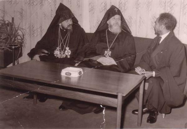 HIH Haile Selassie I with Catholicoses Vasken I and Khoren