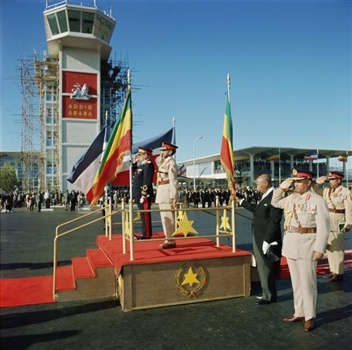 HIM Haile Selassie welcoming the Yugoslavian President, His Excellency Marshal Josip Broz Tito.